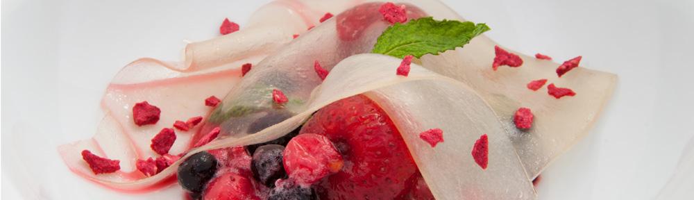 Véu de espumante efectuado com goma de alfarroba e carragenina